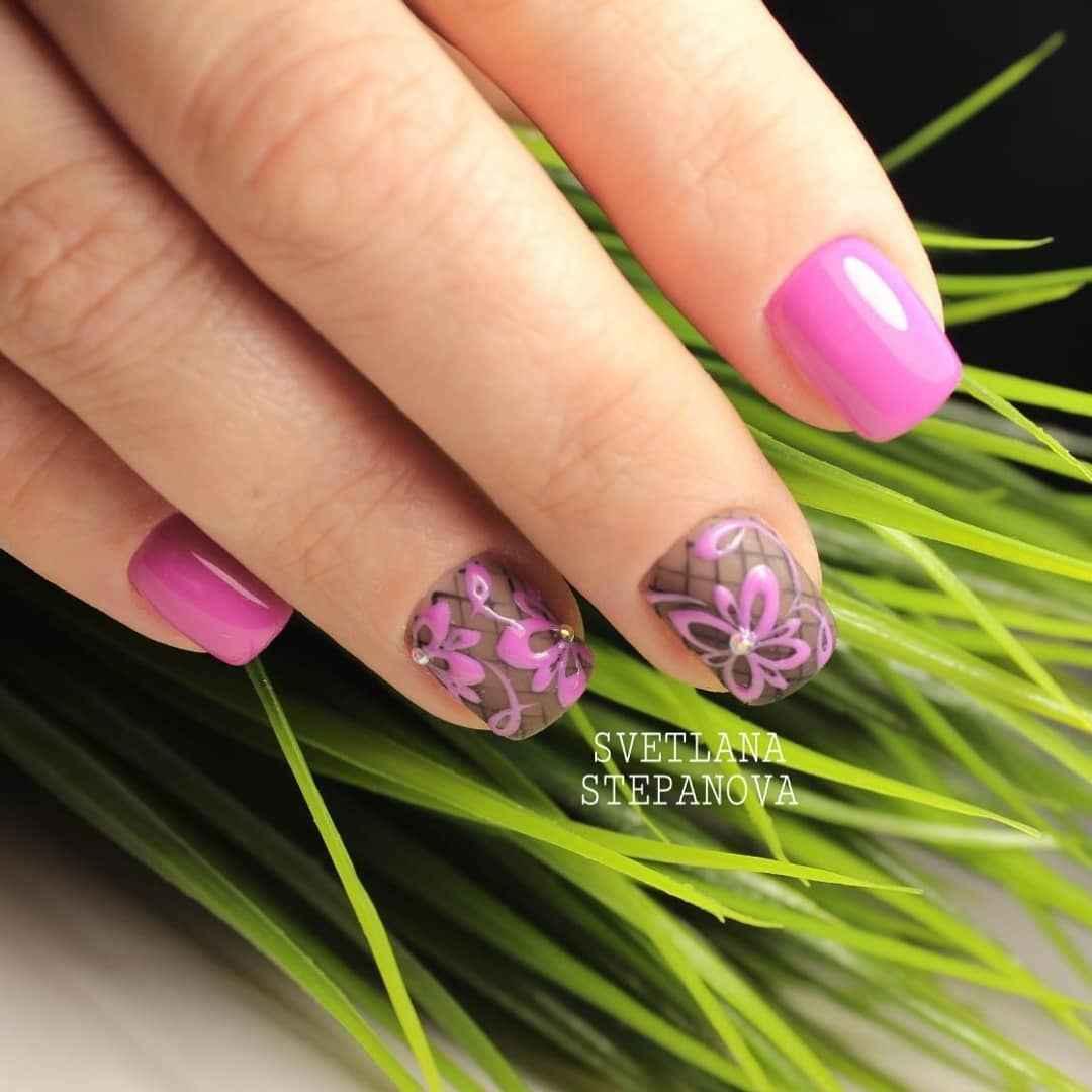 Нежный маникюр на короткие ногти весна 2019 фото_4