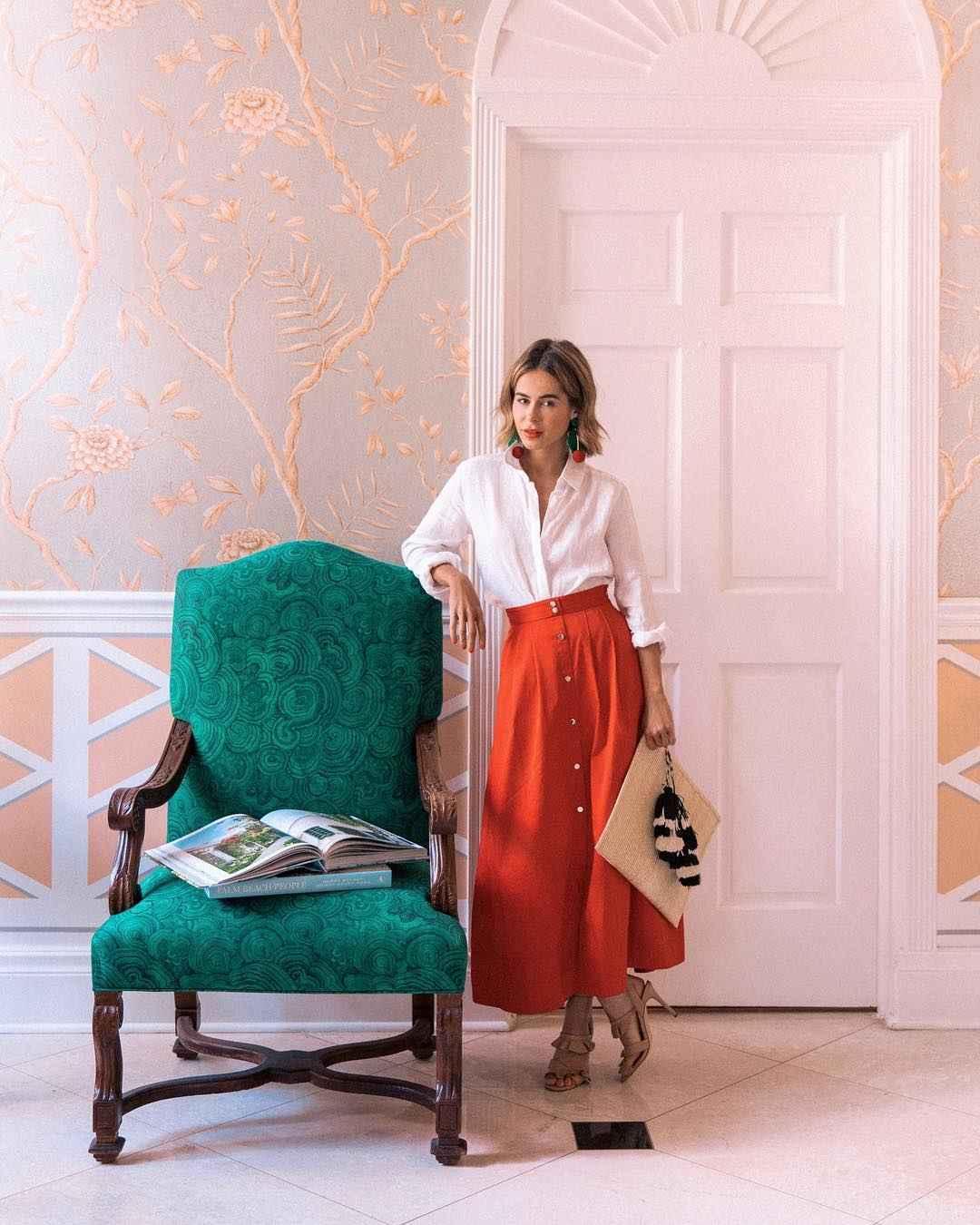 Модные деловые образы с юбкой 2019-2020 фото идеи_16