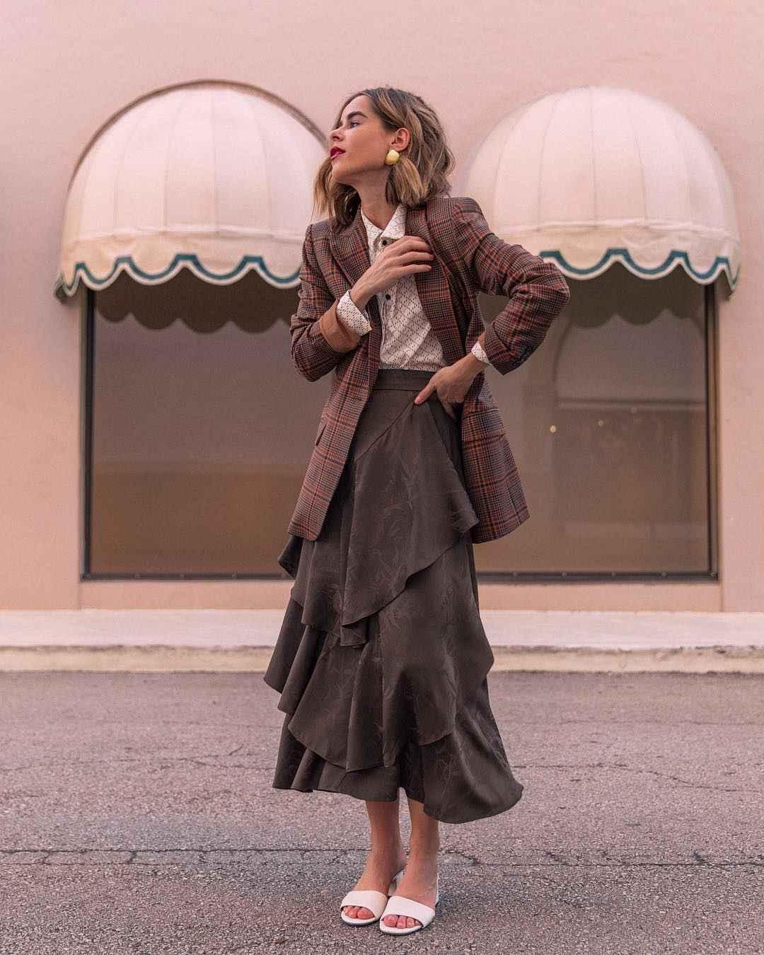 Модные деловые образы с юбкой 2019-2020 фото идеи_9