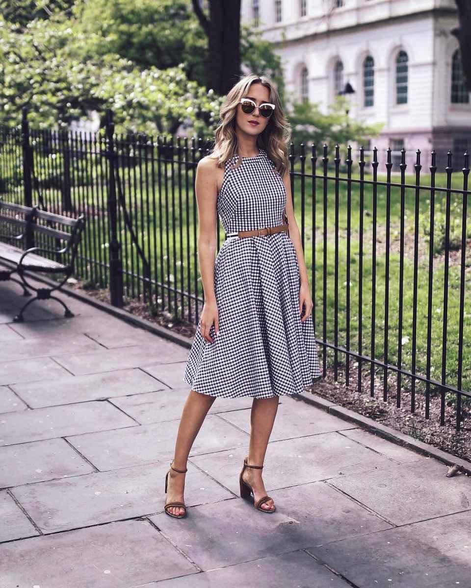 Модные летние платья в клетку фото_1
