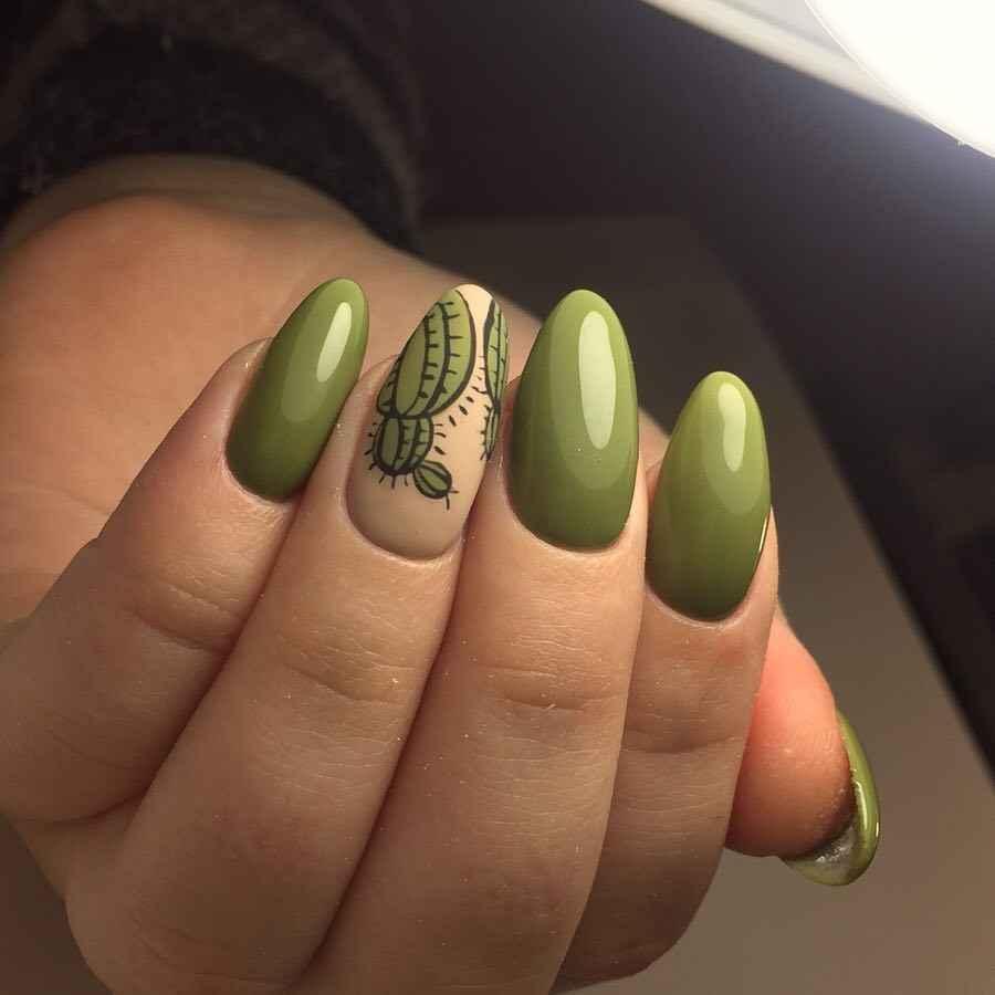 маникюр с кактусом фото_35
