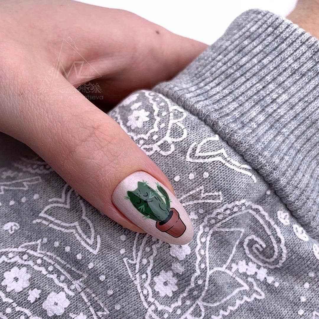 маникюр с кактусом фото_33