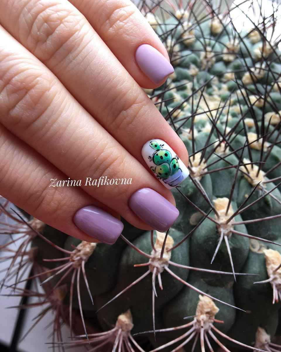 маникюр с кактусом фото_21