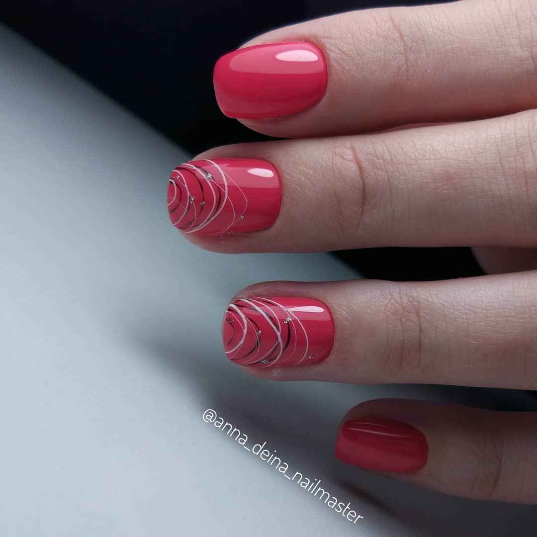 Маникюр паутинка на короткие ногти фото_26
