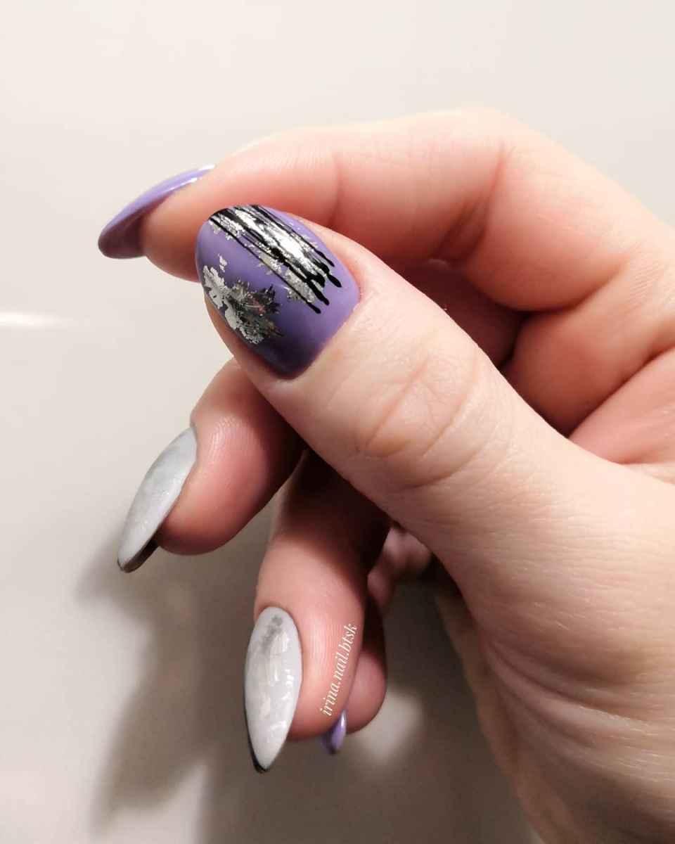 Маникюр паутинка на короткие ногти фото_58