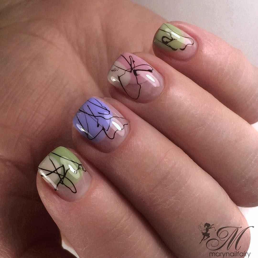Маникюр паутинка на короткие ногти фото_48