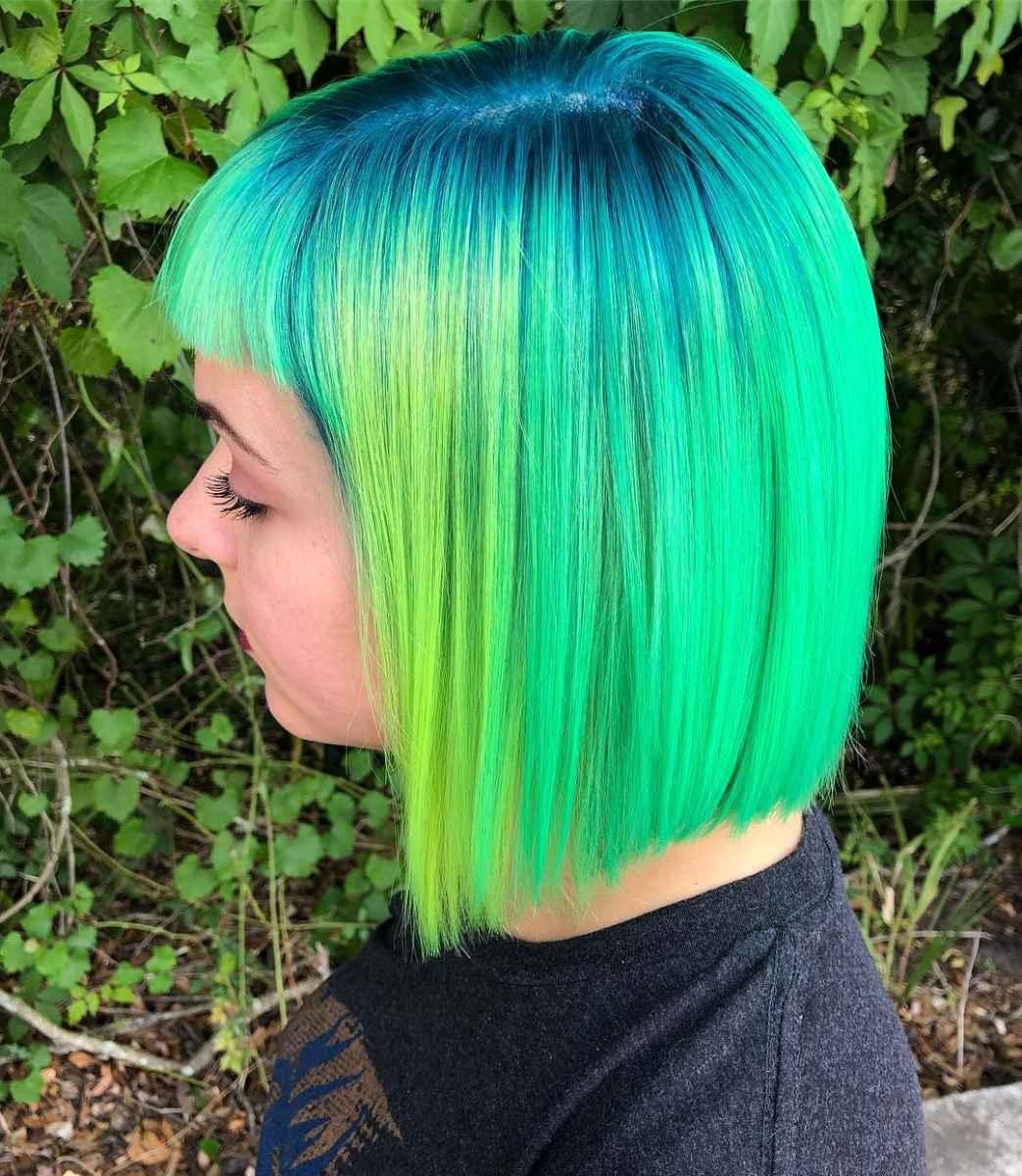 Неоновый зеленый цвет волос