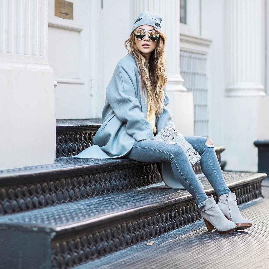 С чем носить серое пальто оверсайз фото идеи_16