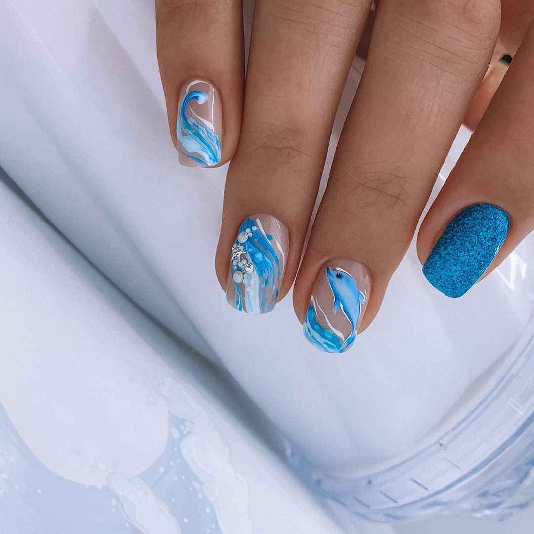 Море на ногтях фото_29
