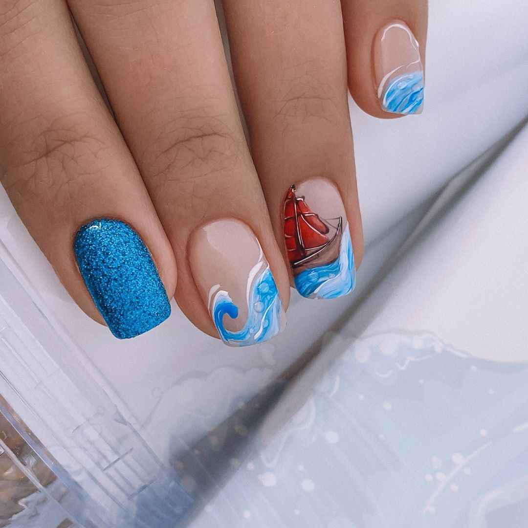Море на ногтях фото_30