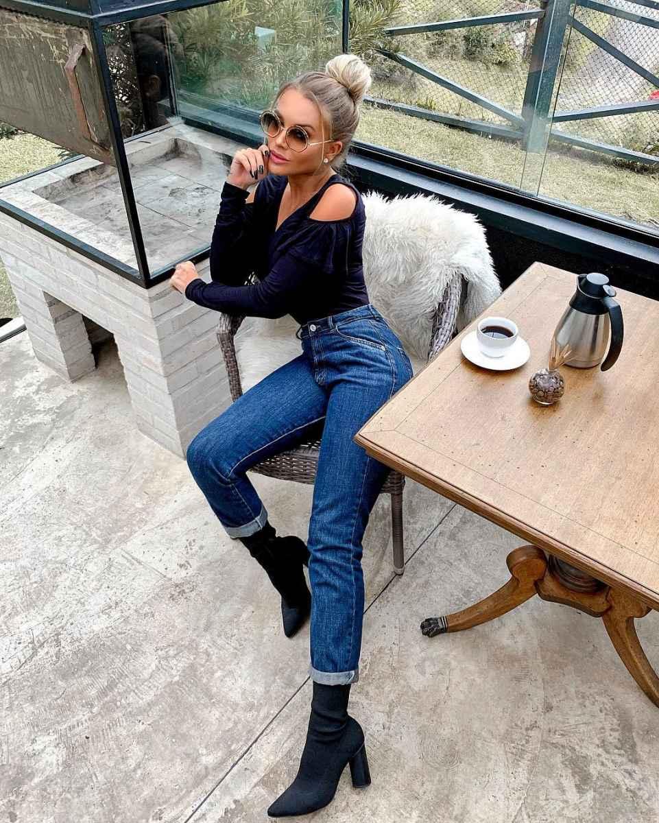 Ботильоны-носки с джинсами фото_2