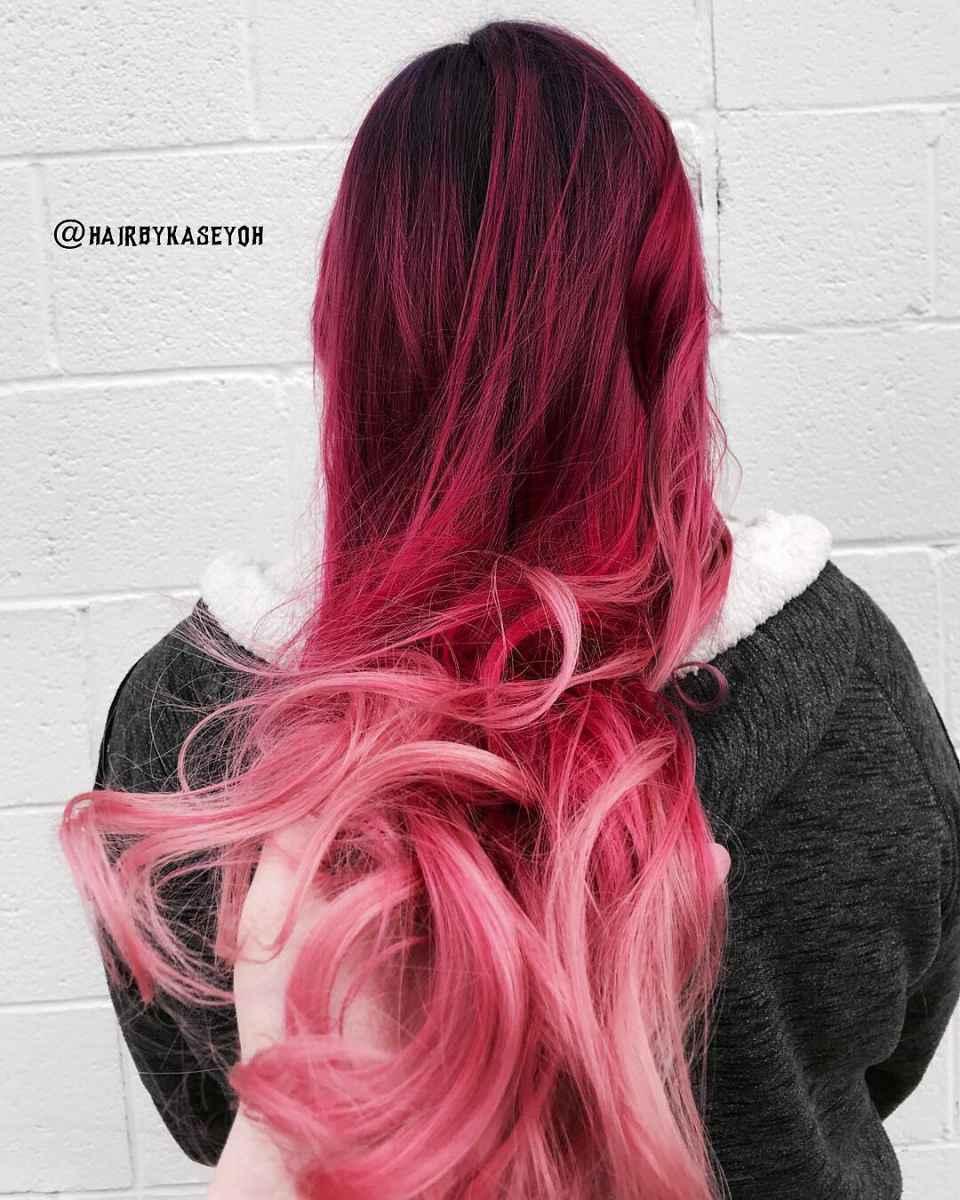 Красное омбре на волосах фото_5