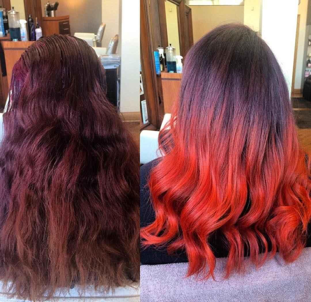 Красное омбре на волосах фото_9