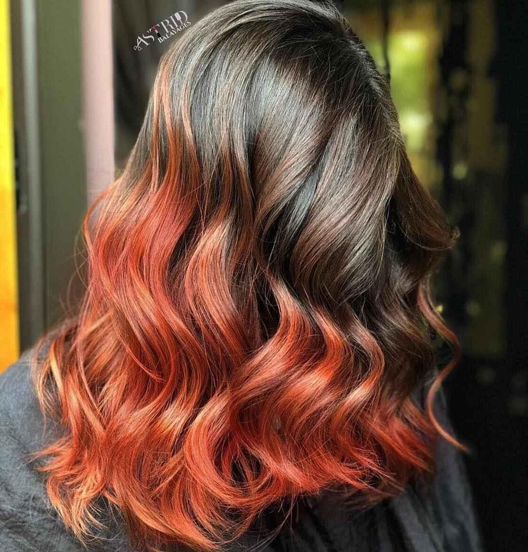 Красное омбре на волосах фото_11