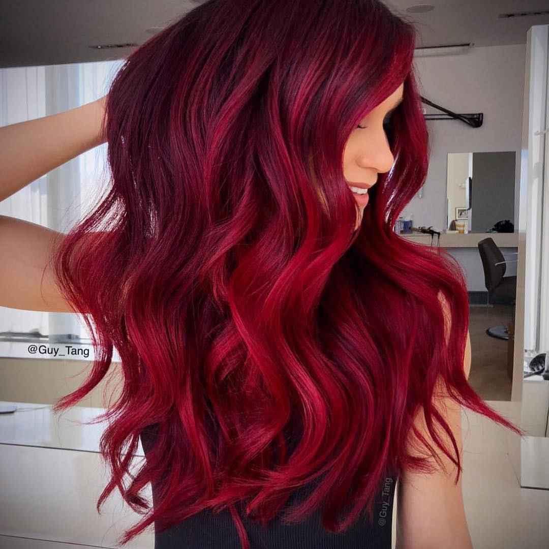 Красное омбре на волосах фото_6