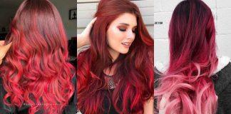 Красное омбре на волосах фото