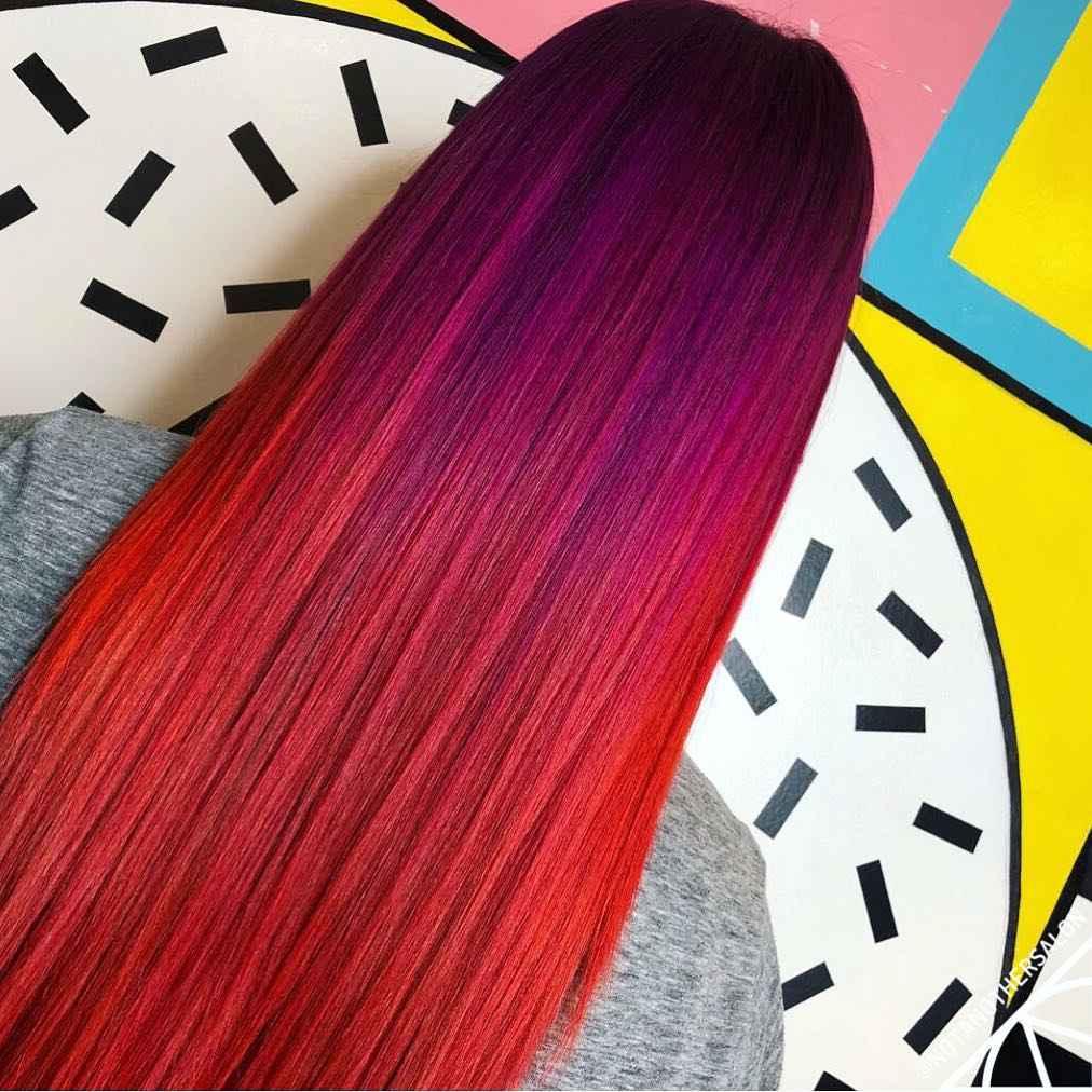 Красное омбре на волосах фото_2