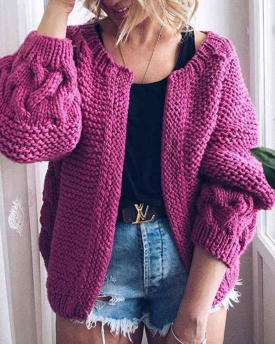 С чем носить розовый кардиган фото_1
