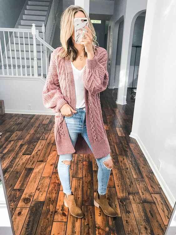 С чем носить розовый кардиган фото_4