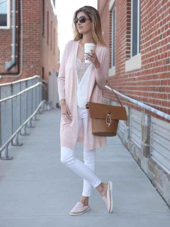 С чем носить розовый кардиган фото_11