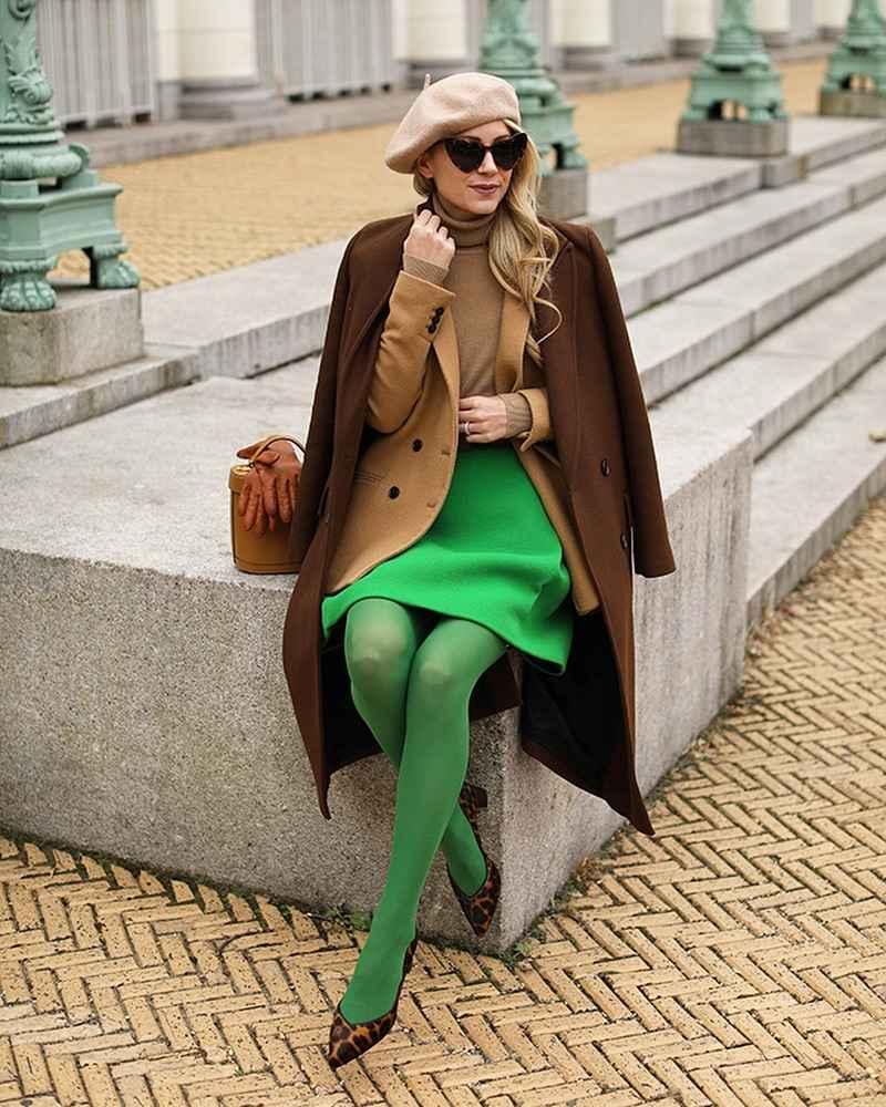 С чем носить коричневое пальто фото идеи_9