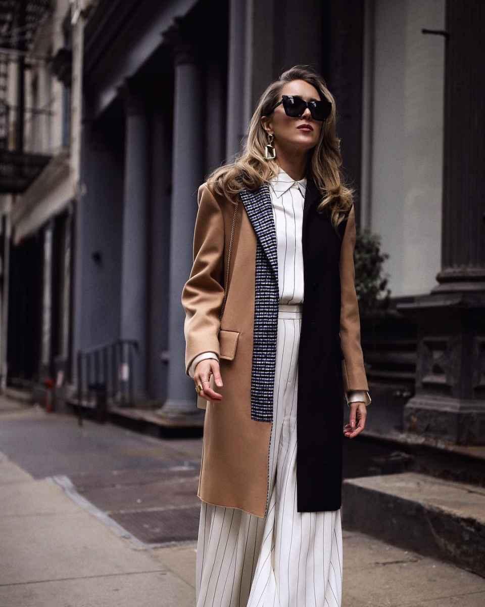 С чем носить коричневое пальто фото идеи_30