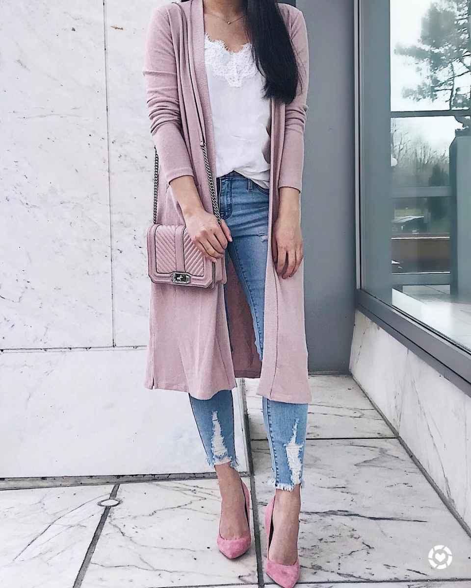 С чем носить розовый кардиган фото_25