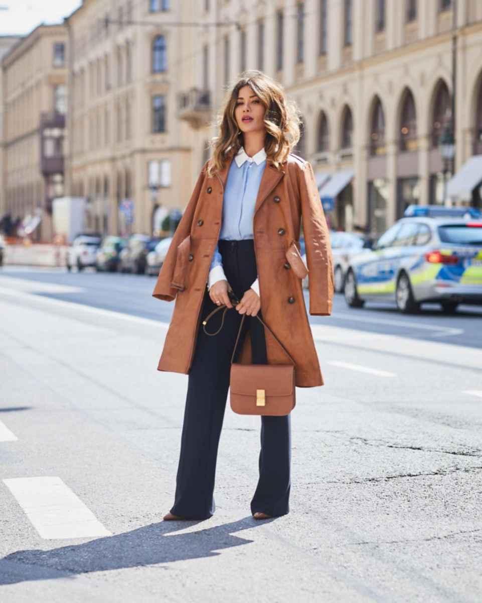 С чем носить коричневое пальто фото идеи_28