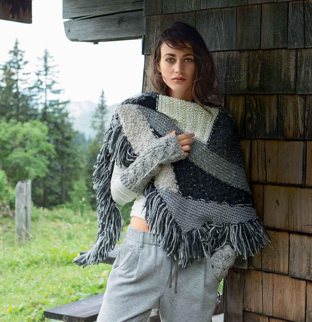 Как носить платок, связанный спицами фото_4