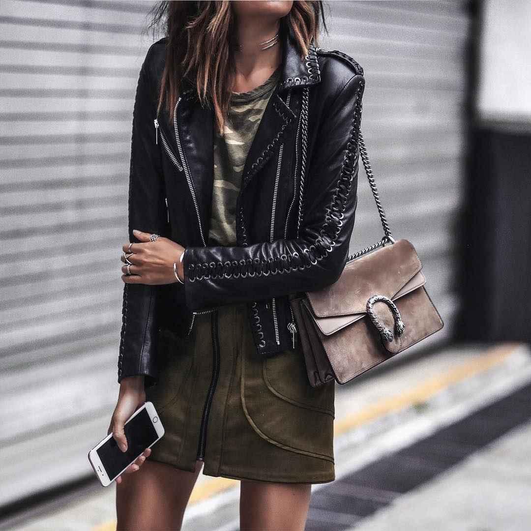 С чем носить кожаную куртку фото_1