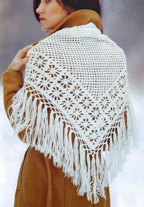 Как носить платок, связанный спицами фото_3