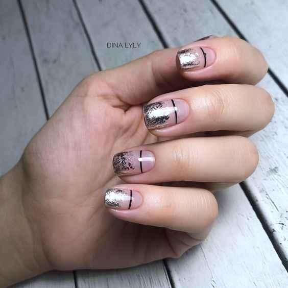Френч с фольгой на ногтях фото_3