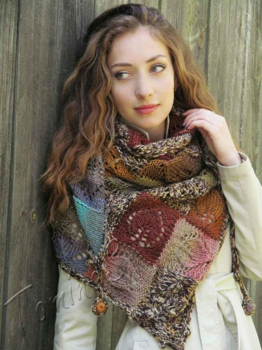Как носить платок, связанный спицами фото_11