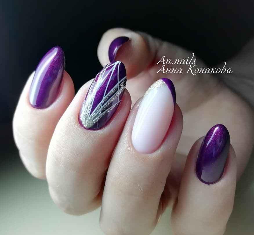 Фиолетовый френч с блестками фото_9