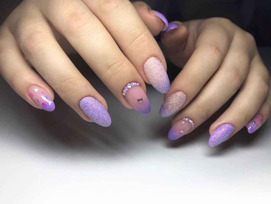 Фиолетовый френч с блестками фото_1