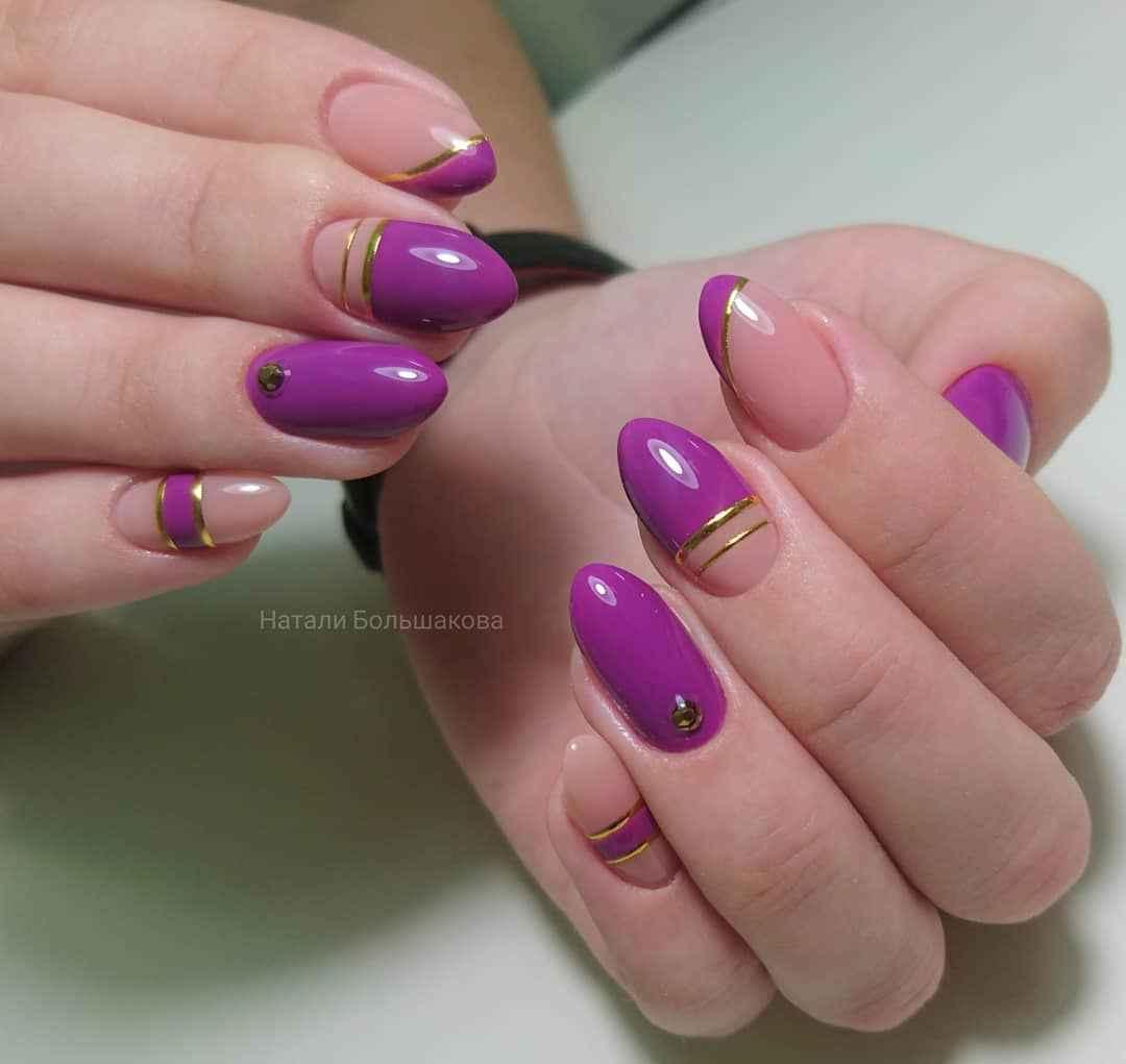 Фиолетовый френч на короткие ногти фото_10