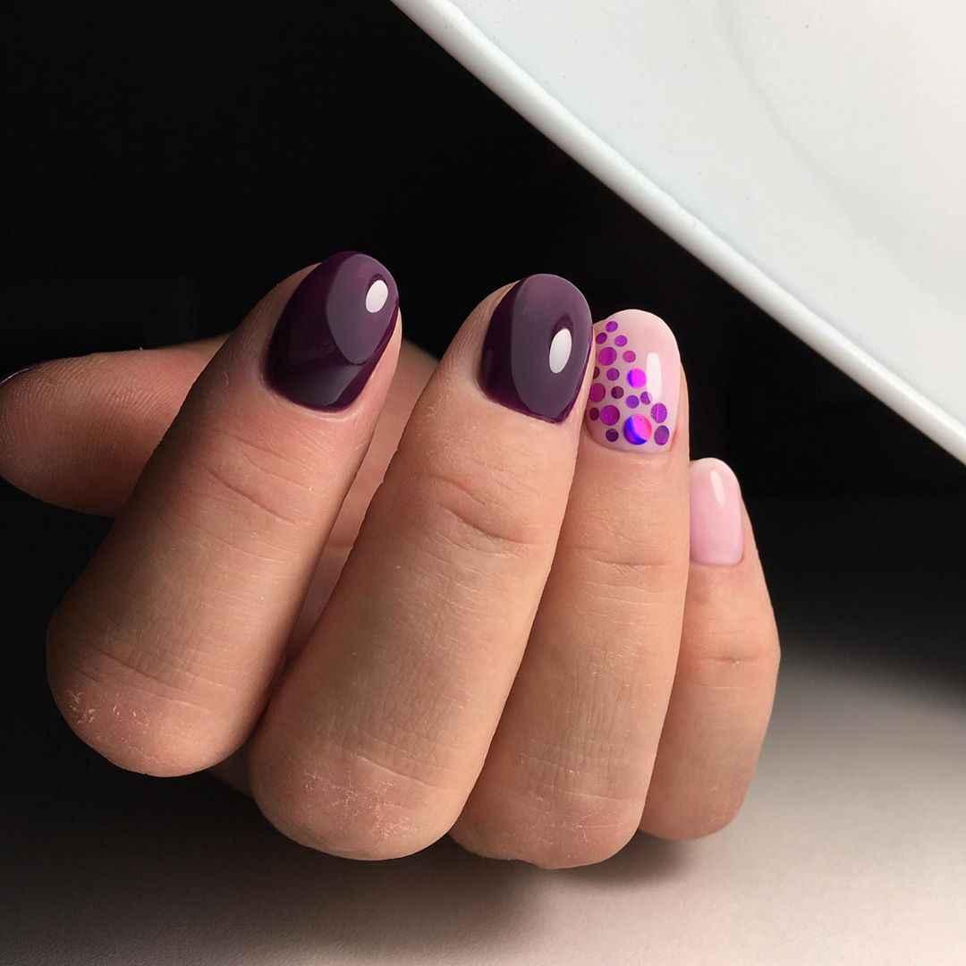 Фиолетовый френч на короткие ногти фото_8