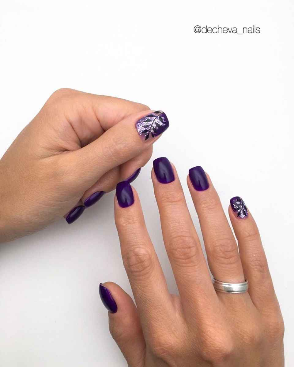 Фиолетовый френч с блестками фото_10