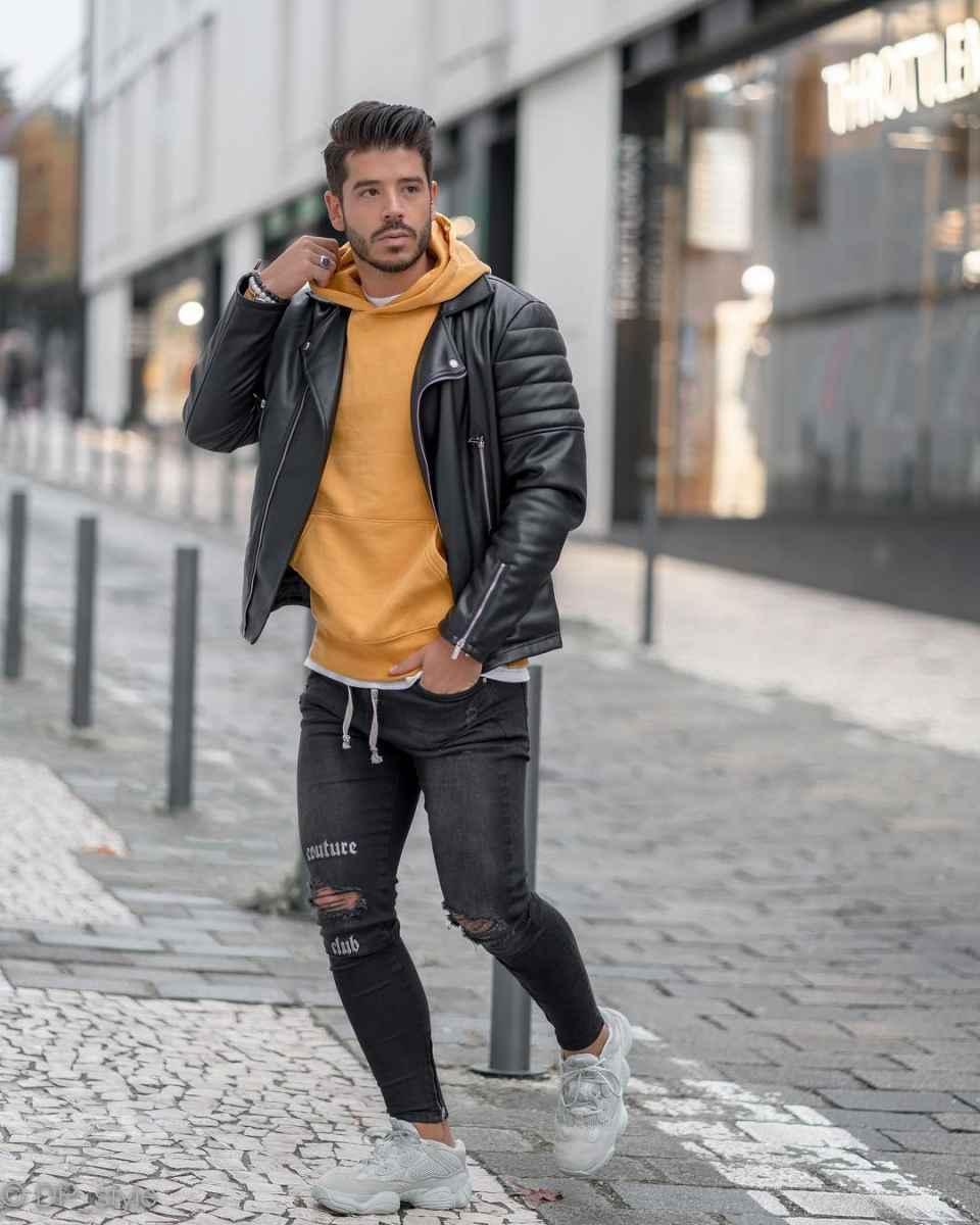 С чем носить кожаную куртку мужчине фото_10