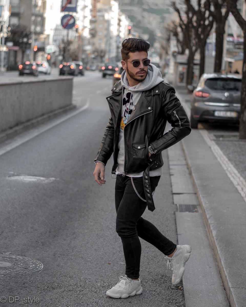 С чем носить кожаную куртку мужчине фото_14