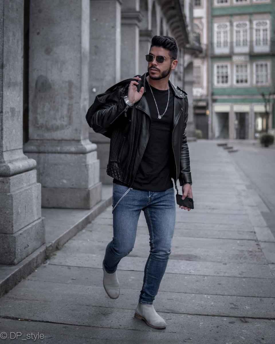 С чем носить кожаную куртку мужчине фото_15