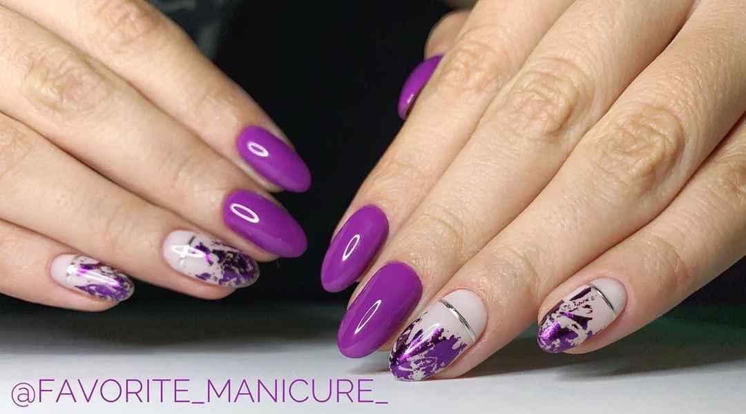 Фиолетовый френч на короткие ногти фото_6