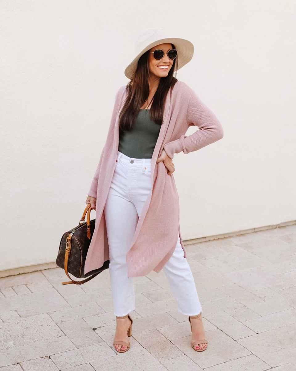 С чем носить розовый кардиган фото_13