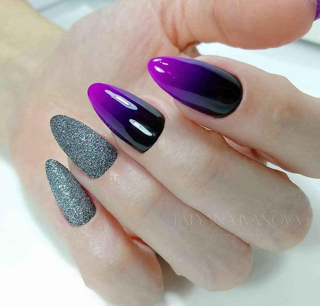 Фиолетовый френч-омбре фото_7