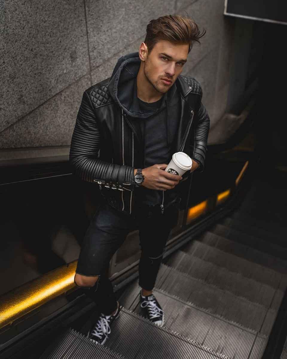 С чем носить кожаную куртку мужчине фото_3