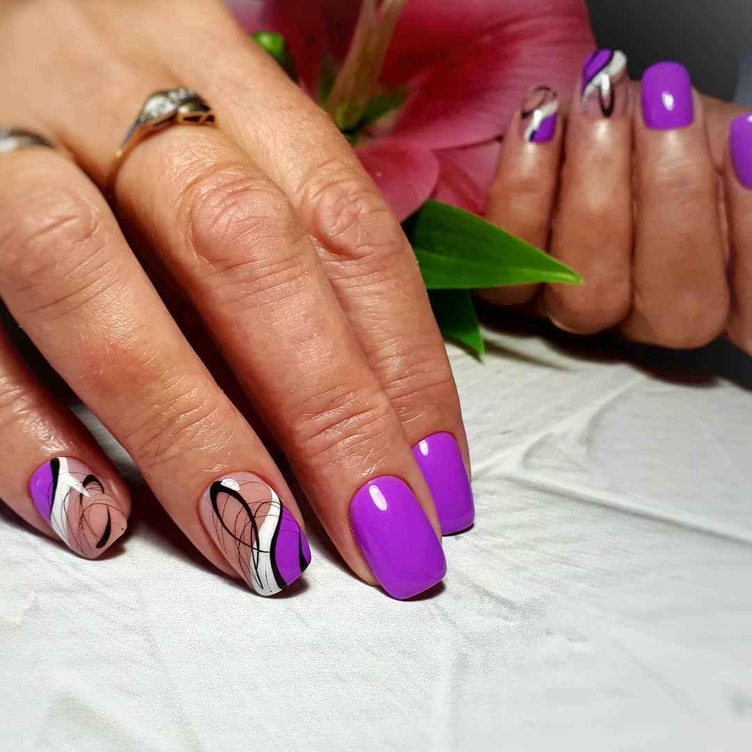 Фиолетовый френч с рисунком фото_10