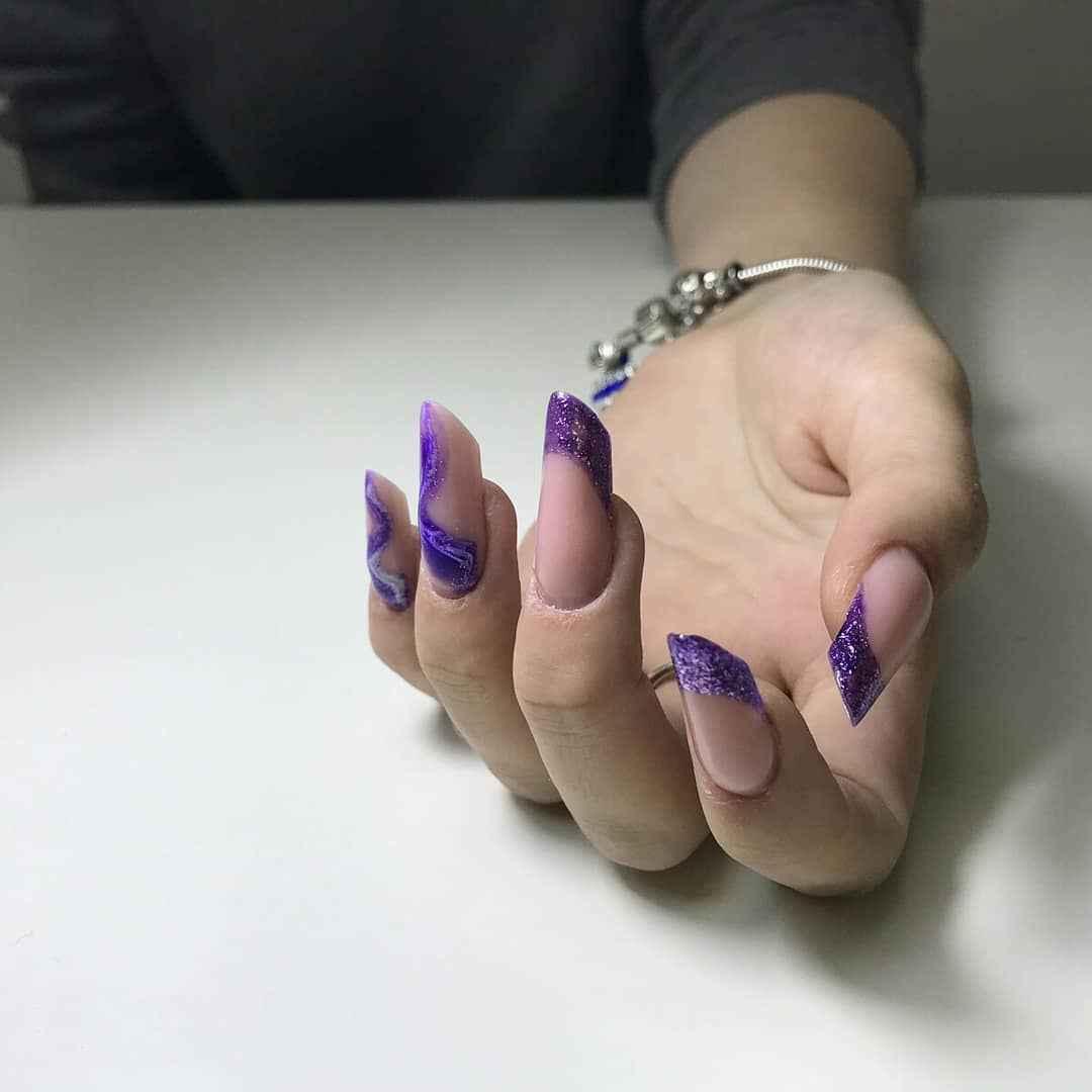 Фиолетовый френч с рисунком фото_3