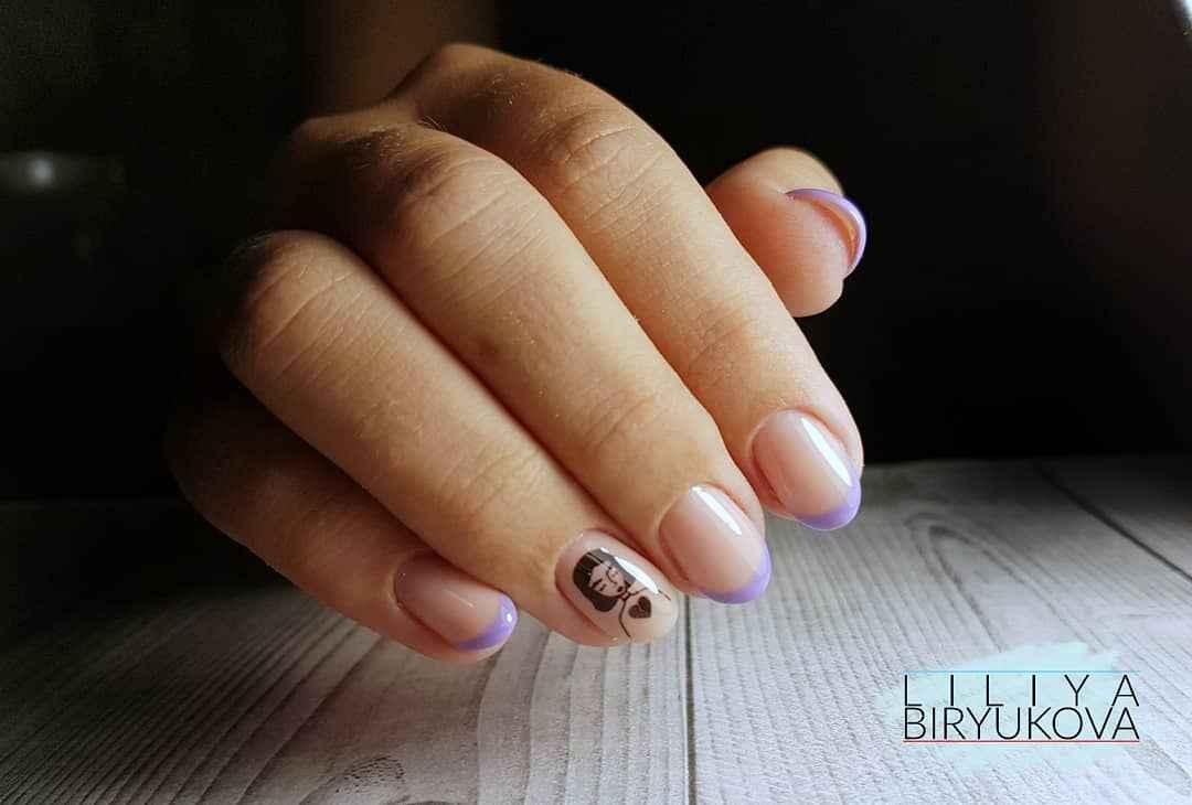 Фиолетовый френч с рисунком фото_8