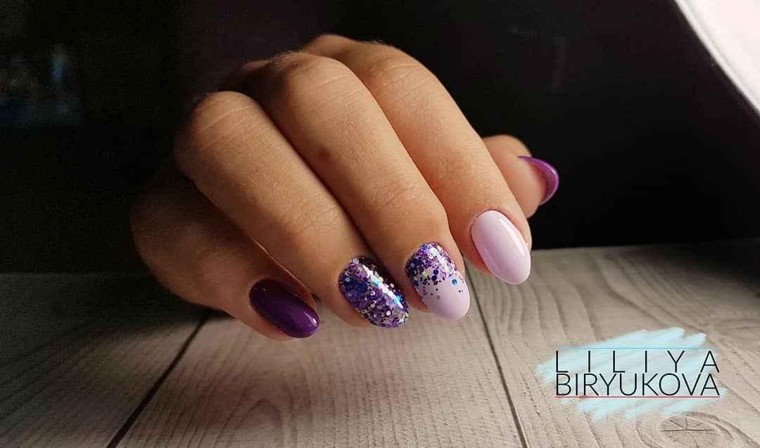 Фиолетовый френч с блестками фото_6
