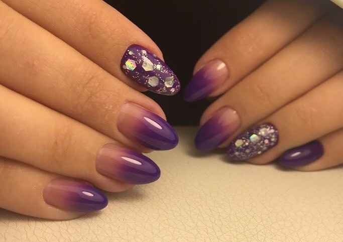 Фиолетовый френч со стразами фото_7